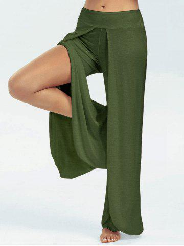 Buy High Split Wide Leg Flowy Pants - Blackish Green 2XL