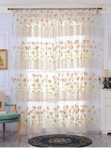 Sale Transparent Calla Lily Window Curtain KHAKI W40INCH*L79INCH