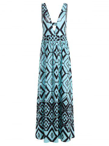 Empire Waist Cut Out Geometric Print Dress - Lake Blue - 2xl