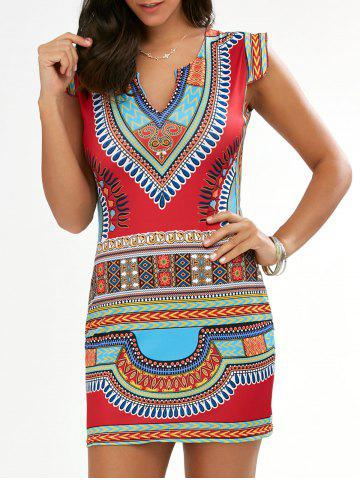 Cap Sleeve Short African Style Print Dress - Red - M