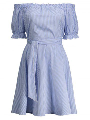 Chic Off Shoulder Ruffle Striped A Line Dress BLUE M
