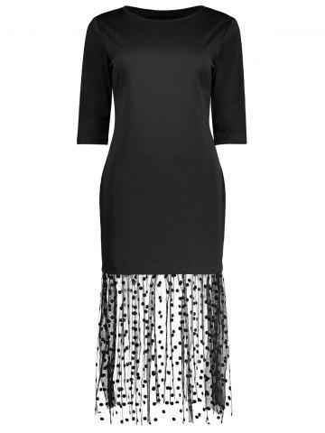 Mermaid Polka Dot Mesh Panel Bodycon Dress - Black - Xl