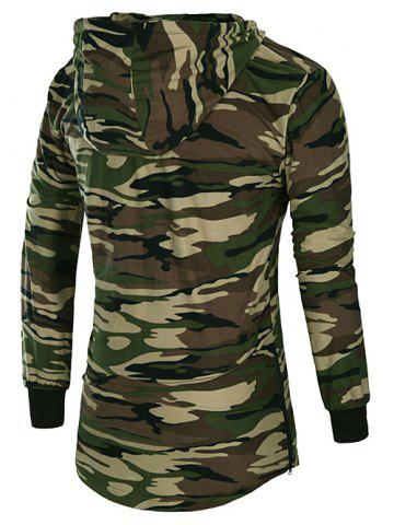 Buy Long Sleeve Hooded Side Zip Up Design T-Shirt - CAMOUFLAGE M Mobile