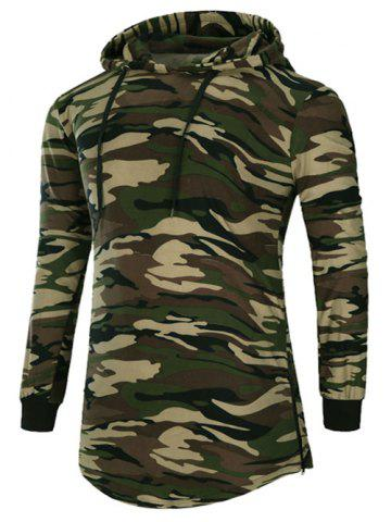 Store Long Sleeve Hooded Side Zip Up Design T-Shirt - CAMOUFLAGE M Mobile