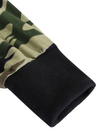 Affordable Long Sleeve Hooded Side Zip Up Design T-Shirt - CAMOUFLAGE M Mobile