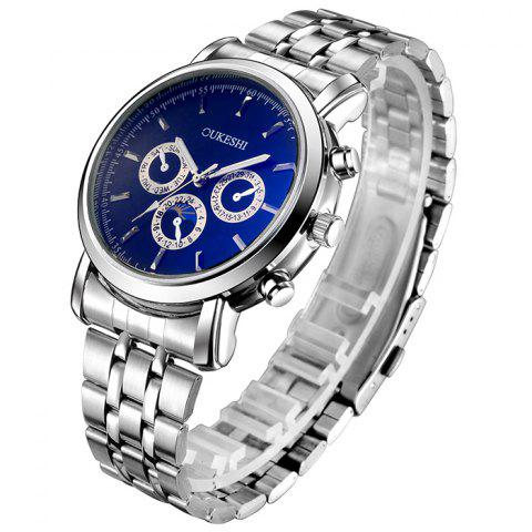 Cheap OUKESHI Steel Strap Analog Wrist Watch - BLUE  Mobile