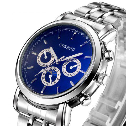 Hot OUKESHI Steel Strap Analog Wrist Watch - BLUE  Mobile