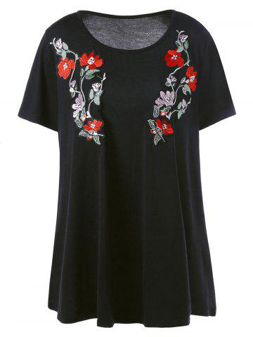 Hot Long Casual Plus Size Embroidered Floral T-Shirt - 5XL BLACK Mobile