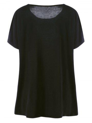Best Long Casual Plus Size Embroidered Floral T-Shirt - 5XL BLACK Mobile