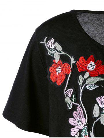 Discount Long Casual Plus Size Embroidered Floral T-Shirt - 5XL BLACK Mobile