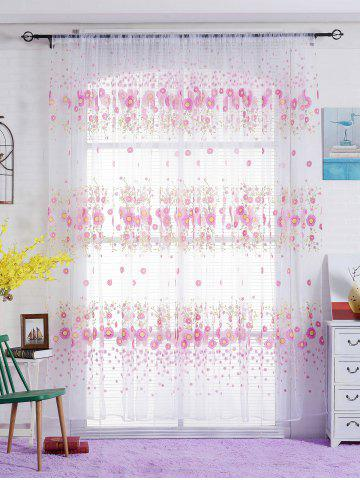 Best Flower Print Transparent Window Curtain - W40INCH*L79INCH PINK Mobile