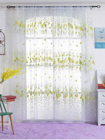 Discount Flower Print Transparent Window Curtain - W40INCH*L79INCH GREEN Mobile