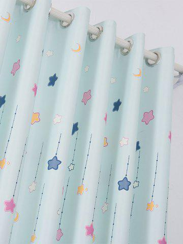 Shop Star Tower Printed Window Curtain - W40INCH*L79INCH LIGHT BLUE Mobile