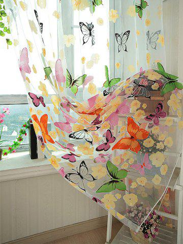 Hot Flower Butterfly Transparent Window Curtain - W40INCH*L79INCH FLORAL Mobile
