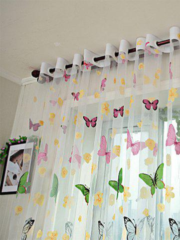 Fashion Flower Butterfly Transparent Window Curtain - W40INCH*L79INCH FLORAL Mobile