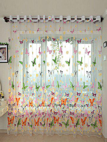 Trendy Flower Butterfly Transparent Window Curtain - W40 INCH * L79 INCH FLORAL Mobile