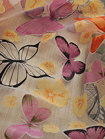 Discount Flower Butterfly Transparent Window Curtain - W40INCH*L79INCH FLORAL Mobile