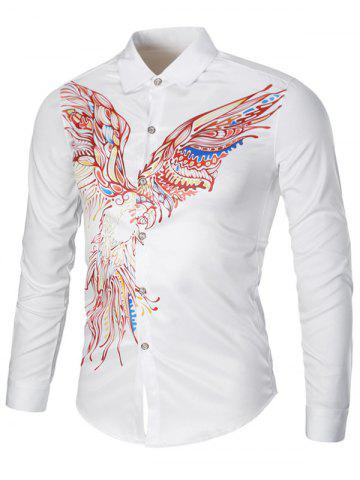 Fashion Colorful Long Sleeve Eagle Graphic Print Cool Shirt - 3XL WHITE Mobile