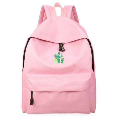 Fashion Cactus Embroidered Candy Color Backpack PINK