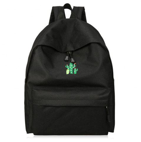 Outfit Cactus Embroidered Candy Color Backpack BLACK