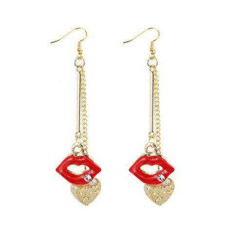Engraved Rhinestone Lips Heart Chain Earrings - Golden