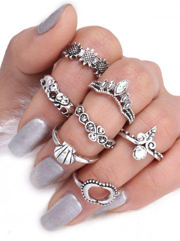 Discount Moon Sun Floral Elephant Ring Set - SILVER  Mobile