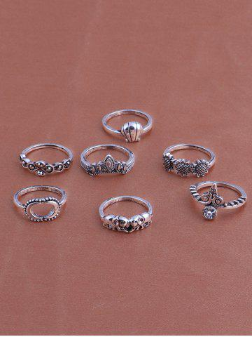 New Moon Sun Floral Elephant Ring Set - SILVER  Mobile