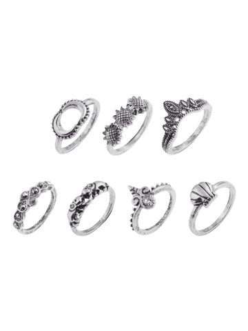 Outfits Moon Sun Floral Elephant Ring Set - SILVER  Mobile