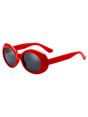 Anti UV Oval Retro Wrap Frame Sunglasses - RED