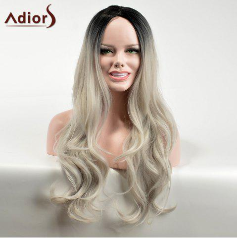 Adiors Long Gradient Centre Parting Wavy Dark Root Synthetic Wig - Colormix