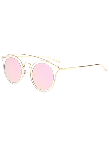 Cat Eye Mirror Cambered Metal Crossbar Sunglasses - Pink