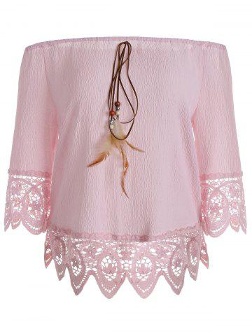 Affordable Floral Lace Panel Blouse with Feather PAPAYA M