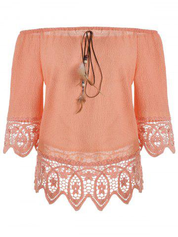 Outfits Floral Lace Panel Blouse with Feather