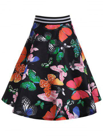 Hot High Waisted Butterfly Print Belted Skirt