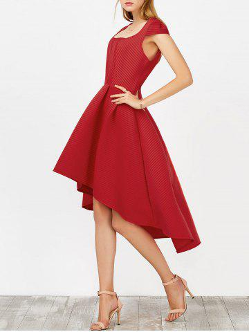 Chic High Low Tea Length Wedding Guest Dress RED L
