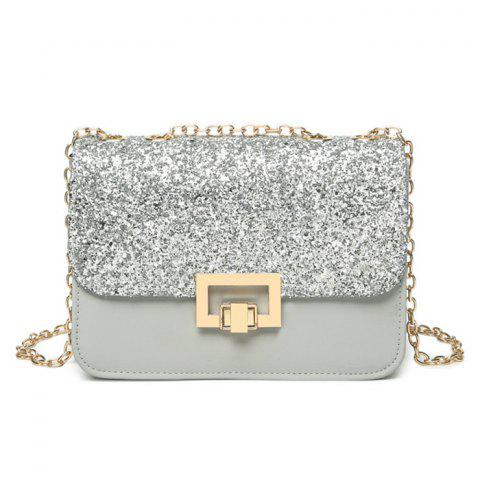 Online Sequin Metal Detial Crossbody Bag