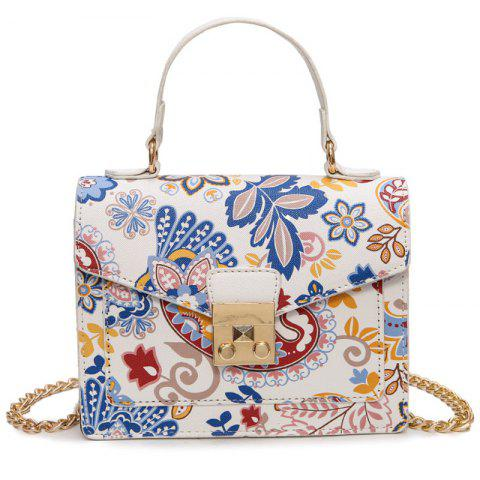 Discount Metal Detail Print Handbag WHITE
