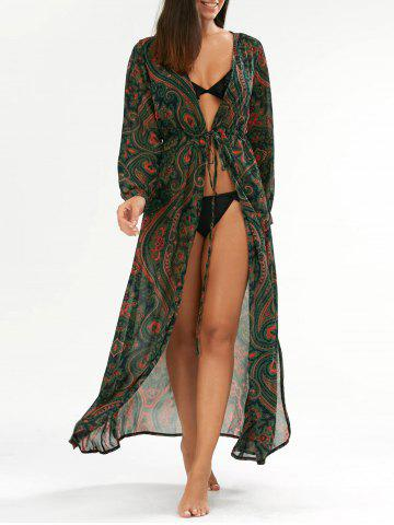Sale Paisley Drawstring Long Floral Kimono Cover Up GREEN ONE SIZE
