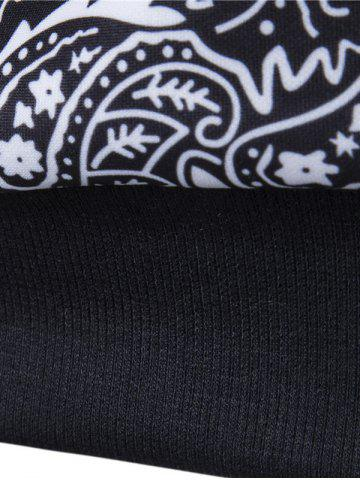 Fancy Long Sleeve Paisley Floral Graphic Vintage Sweatshirts - M BLACK Mobile