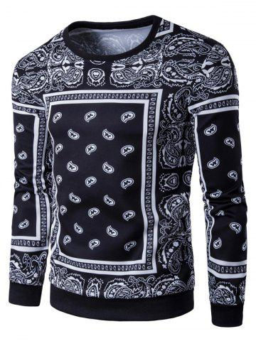 Fashion Long Sleeve Paisley Floral Graphic Vintage Sweatshirts - M BLACK Mobile