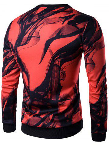 Outfits Long Sleeve Wash Painting Print Sweatshirt - 2XL RED Mobile