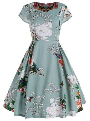 New Plus Size Fit and Flare Floral Dress LIGHT GREEN 3XL