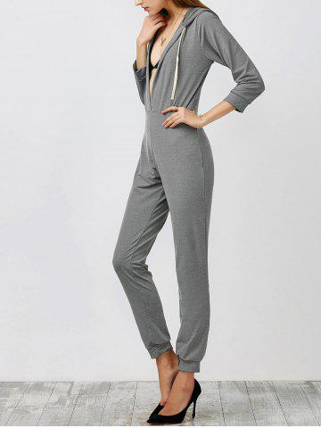 Online Hooded High Waist Jumpsuit