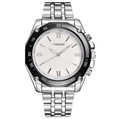 Chic OUKESHI Tachymeter Roman Numeral Wrist Watch WHITE