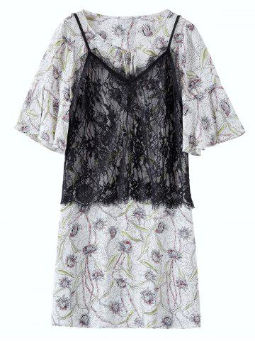 Chiffon Floral Plus Size Dress With Camisole - Colormix - 5xl