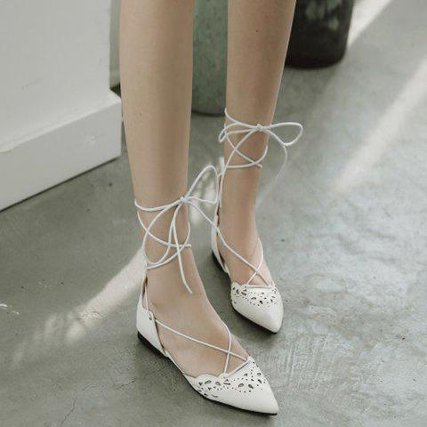 Cheap Tie Up Hollow Out Flat Shoes - 39 WHITE Mobile