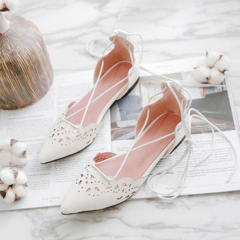 Affordable Tie Up Hollow Out Flat Shoes - 39 WHITE Mobile