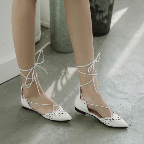 Fashion Tie Up Hollow Out Flat Shoes - 39 WHITE Mobile
