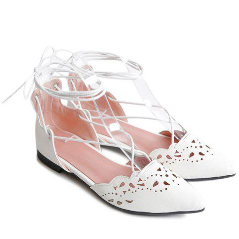 Unique Tie Up Hollow Out Flat Shoes - 39 WHITE Mobile