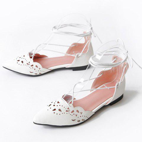 Fancy Tie Up Hollow Out Flat Shoes - 39 WHITE Mobile
